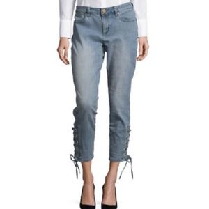 Michael Kors Lace Up Ankle Crop Lt Wash Denim Jean